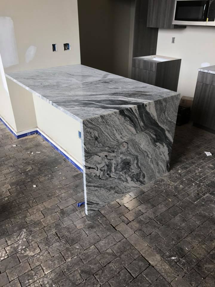 Waterfall Edge Installation Gallery Granite Works Of Pa