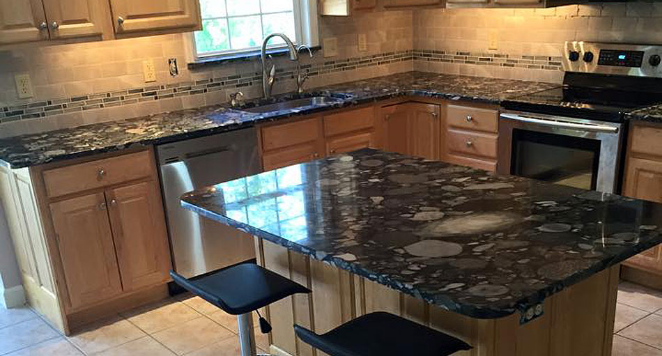 Granite Works, LLC Countertop installation - Saphire Blue with an Ogee edge